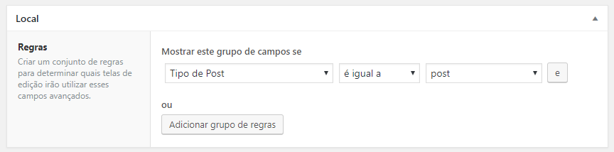 configurando as regras do campo personalizado no WordPress