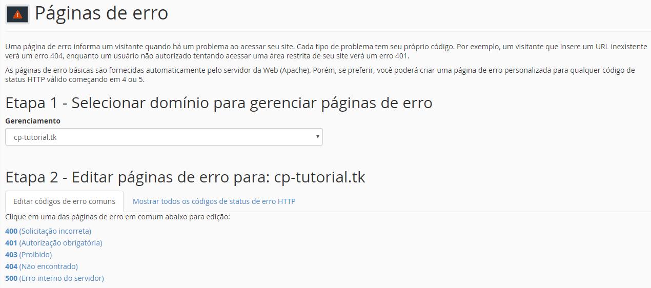 configuração de páginas de erro pelo cpanel