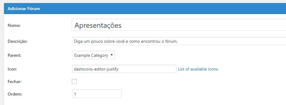 configurar apresentacao de fórum