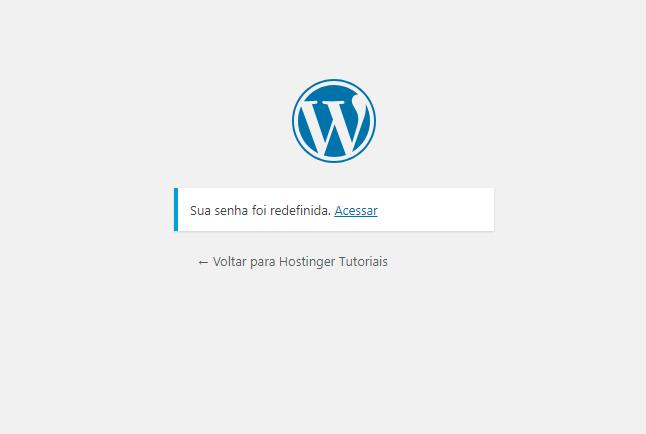 redefinição de senha confirmada pelo wordpress