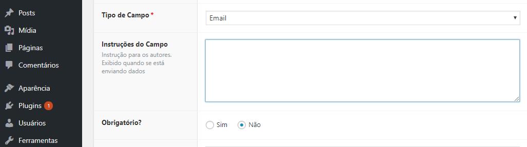 descrevendo campo personalizado de email