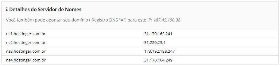 detalhes do nome de servidor