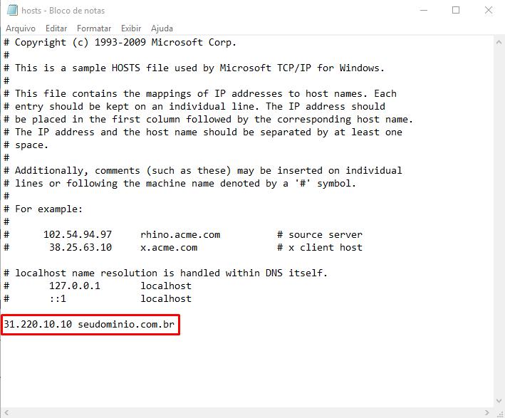 editando arquivo hosts