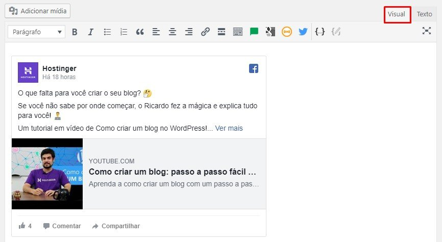 editor visual do wordpress