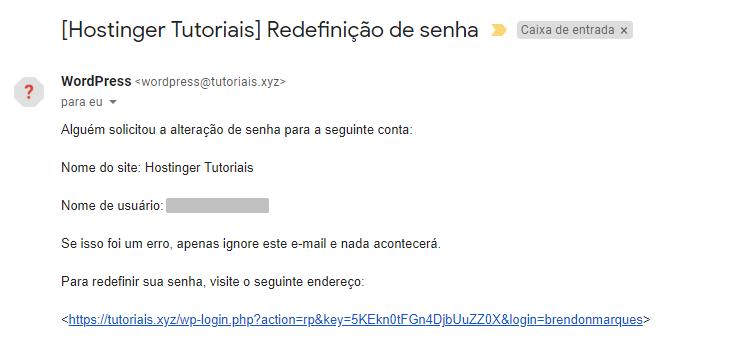 email de redefinição de senha