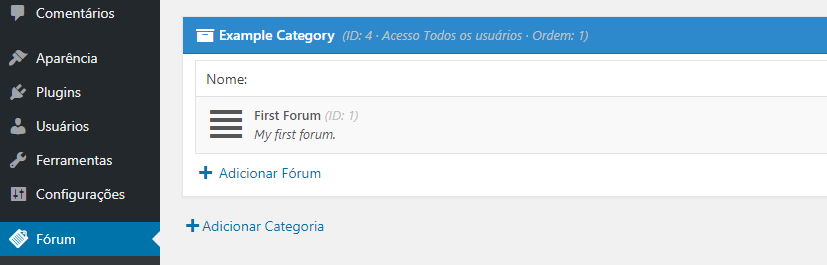 estrutura forum wordpress