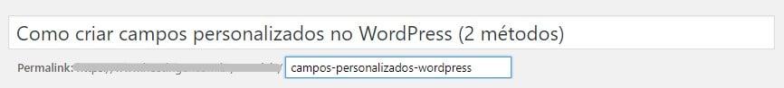 o título em postagens é um exemplo de campo personalizado no WordPress