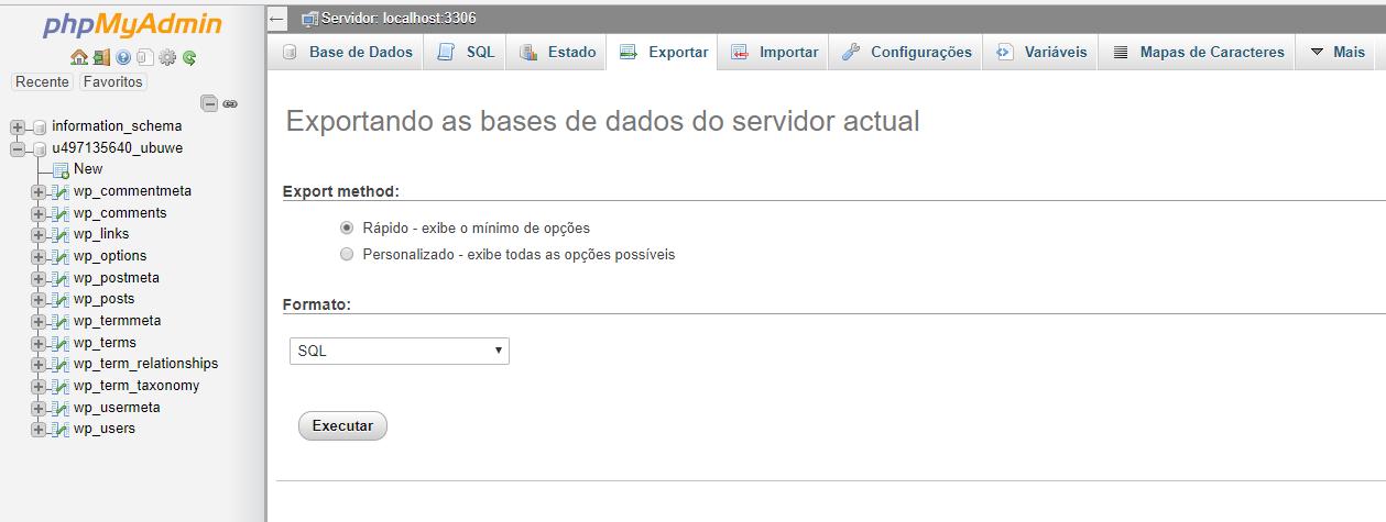 exportando base de dados do php my admin