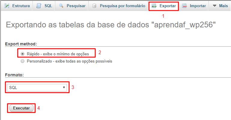 exportando banco de dados MySQL configurado para SQL