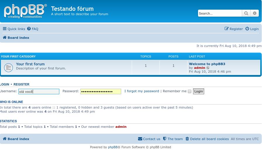 página inicial de fórum feito com phpbb