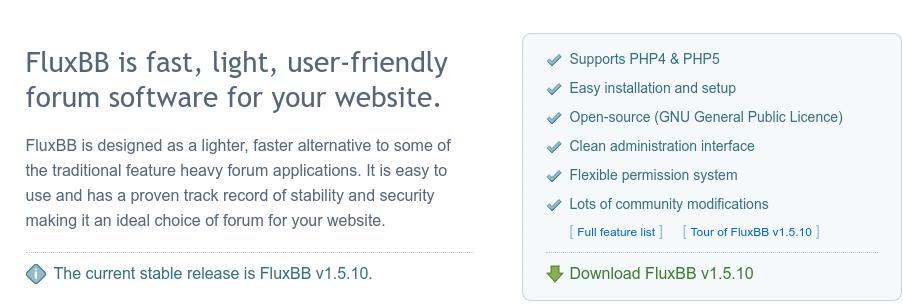 fórum criado com o software FluxBB