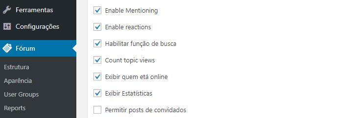 habilitar configurações do fórum