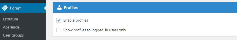 habilitar perfil no fórum