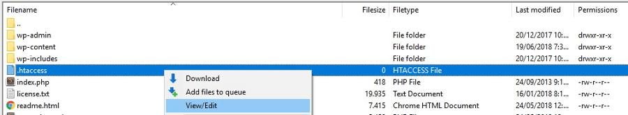 arquivo .htaccess dentro da pasta public_html