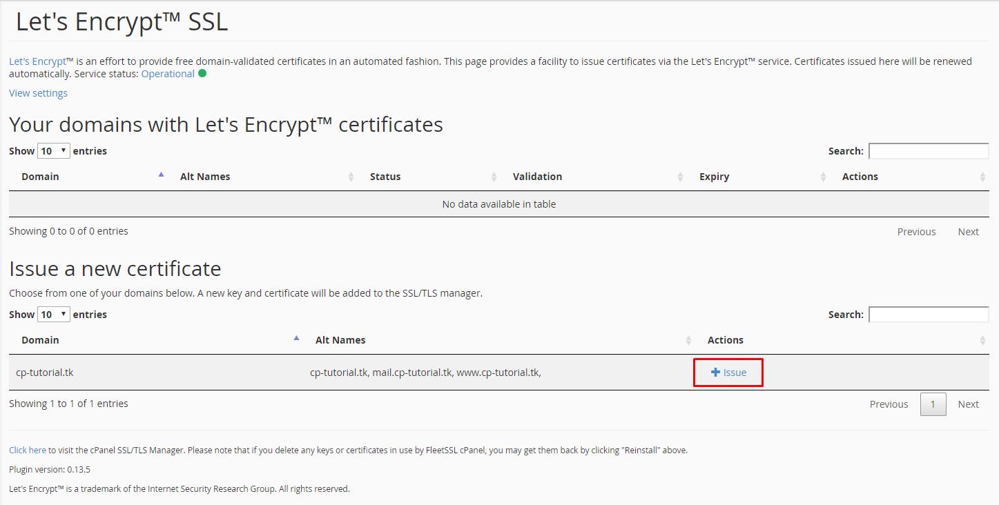 Inserir Let's Encrypt por domínio