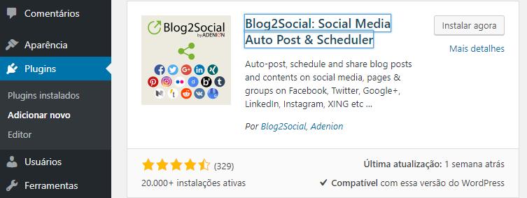 instalar plugin blog2social