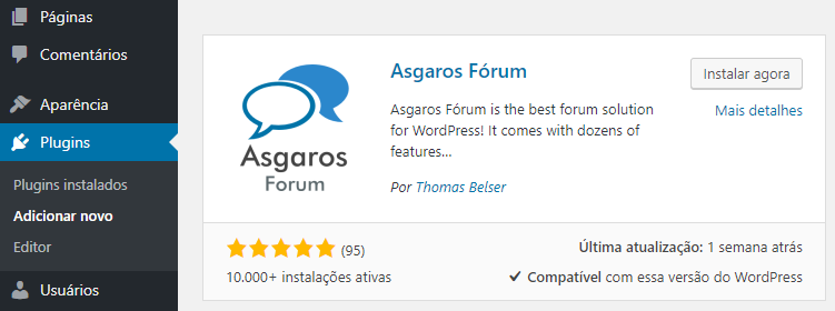 Como instalar wordpress forum plugin