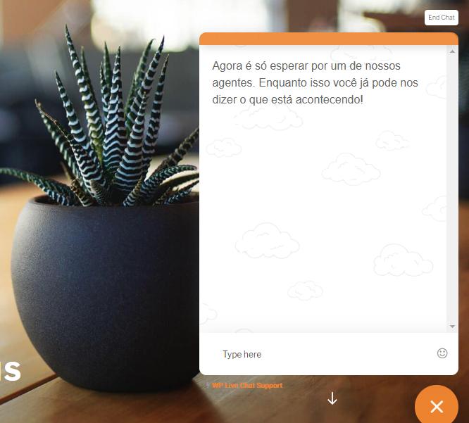 mensagem de espera no chat online para o cliente WordPress