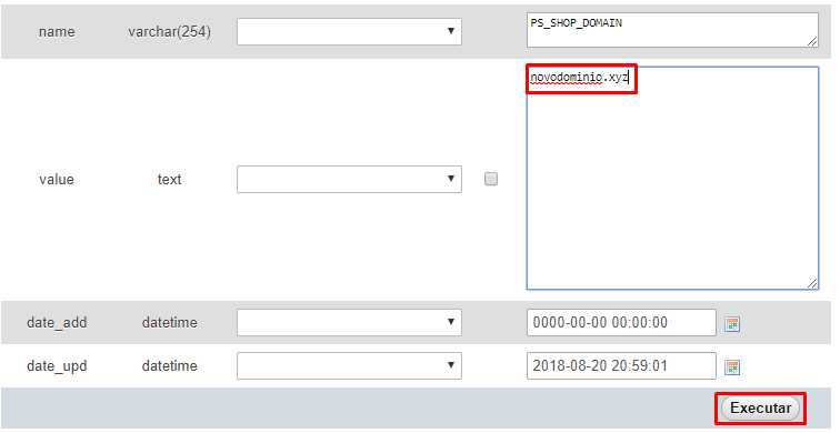 mudar domínio de banco de dados com php myadmin