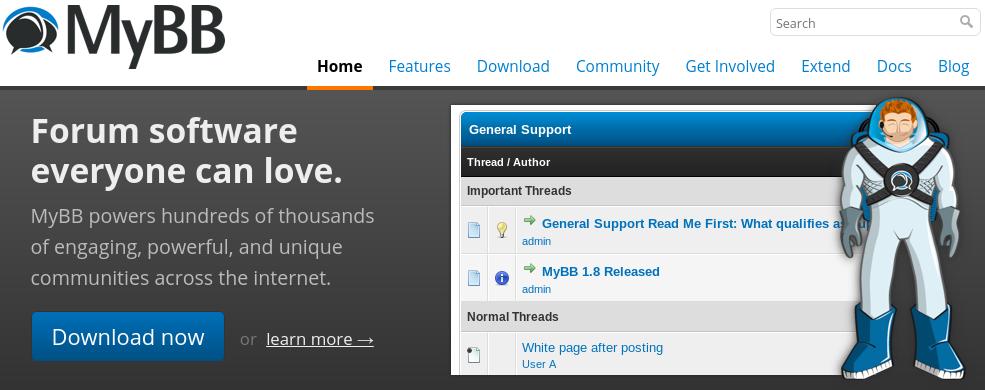 site do fórum MyBB