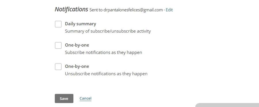 notificações de inscritos