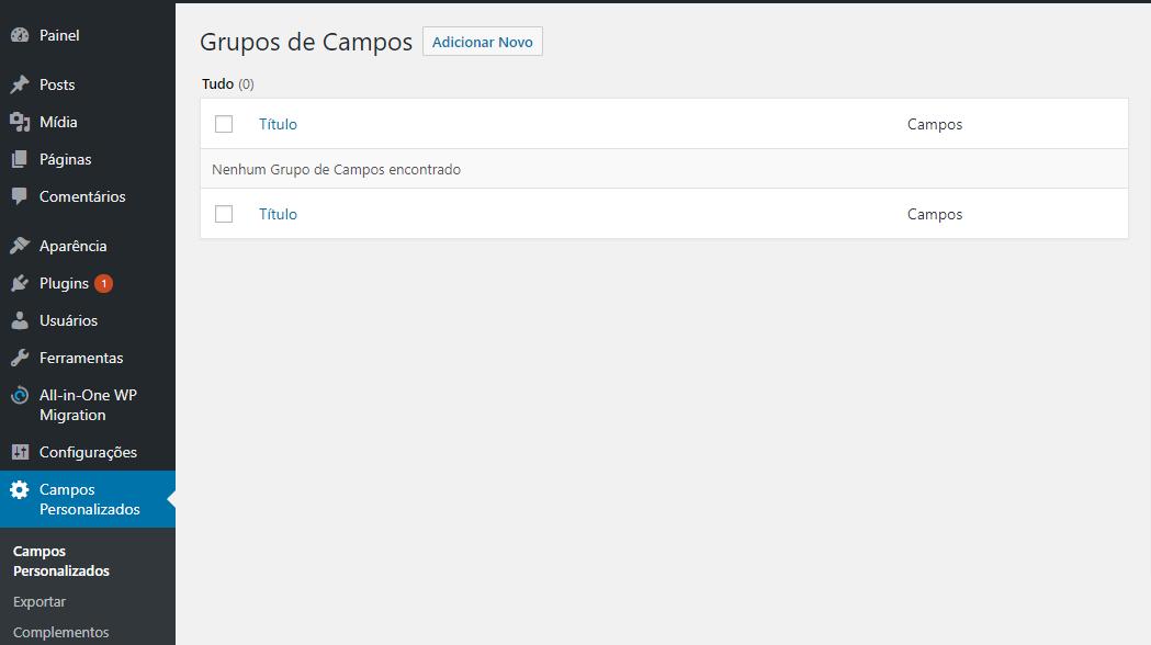 opção de campos personalizados no WordPress