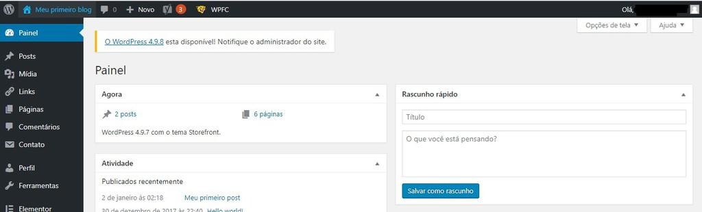 painel do administrador no wordpress