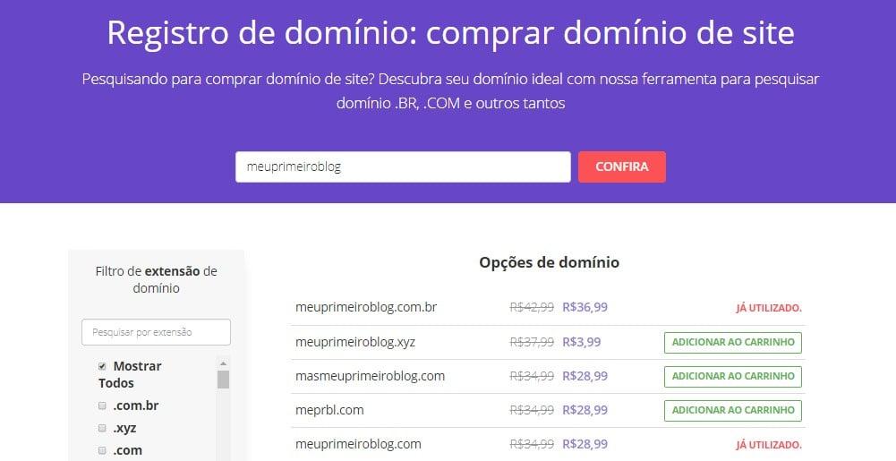 pesquisar domínio na hostinger