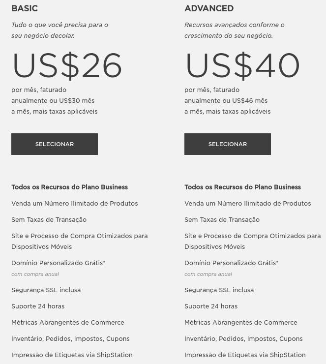 preços dos planos básico e avançado para ecommerce no squarespace