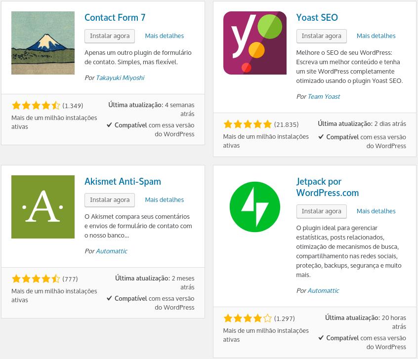 opções de plugins wordpress para instalar no seu site