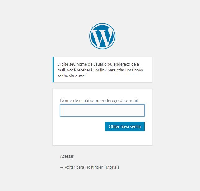 Solicitar nova senha no WordPress