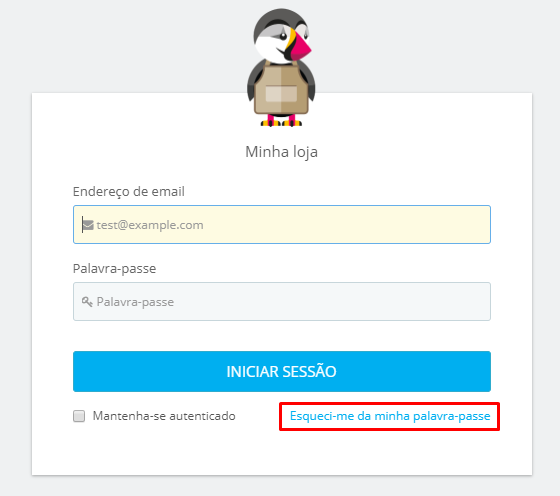 tela de login do Prestashop