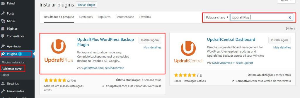 instalar plugin updraftplus
