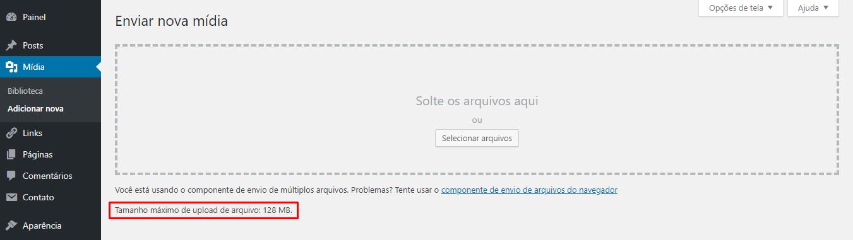 Verificar painel de controle wordpress para saber os limites disponíveis