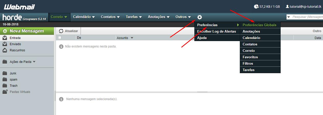 configurar fuso horário do webmail via horde