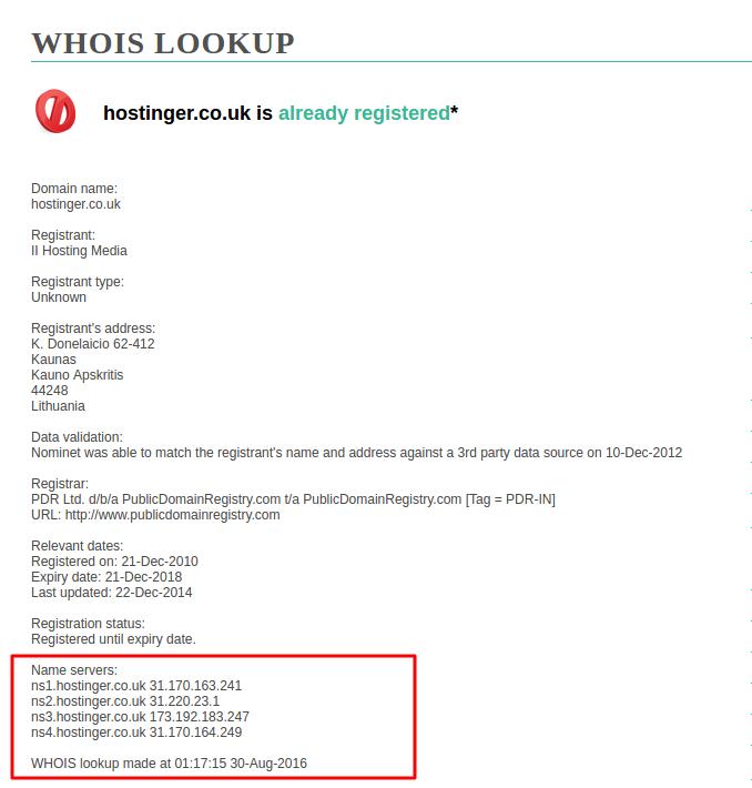 verificar apontamento de domíno pelo whois lookup