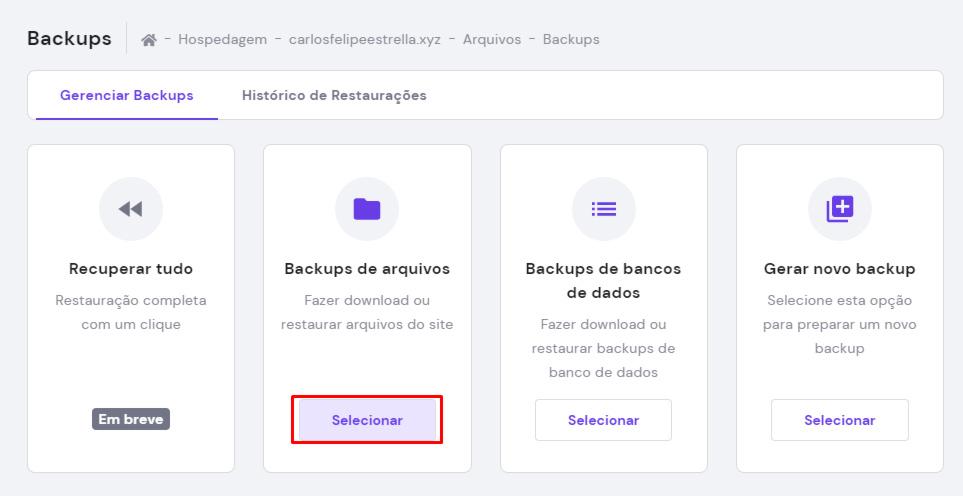 backups de arquivos no hpanel