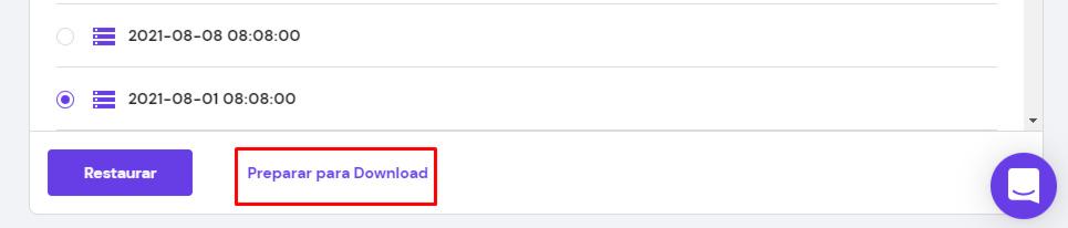 botão de preparar para download em bancos de dados