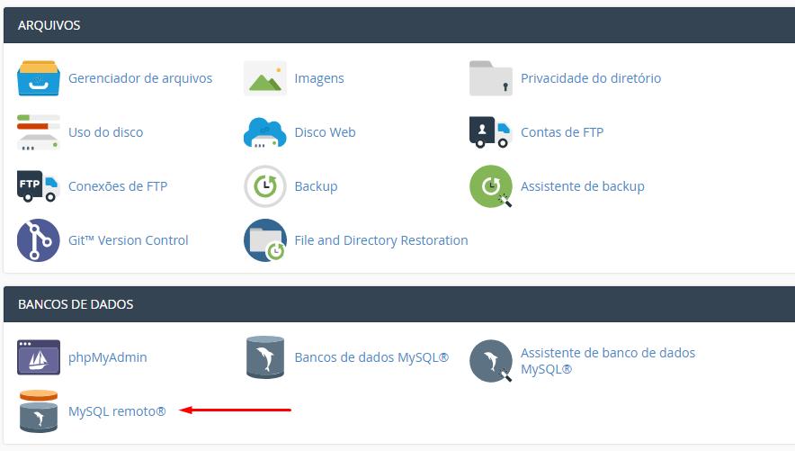 acessar cpanel e encontrar recurso remote mysql