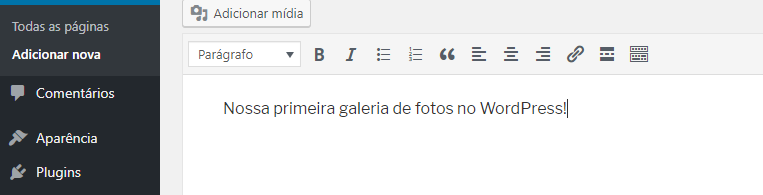 adicionar galerias wordpress