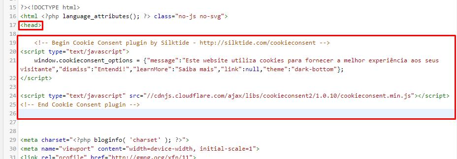 código html para aviso de cookie