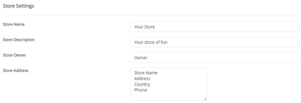 configurações de ecommerce opencart