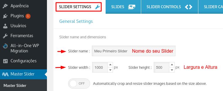 configurar nome e dimensões do slider