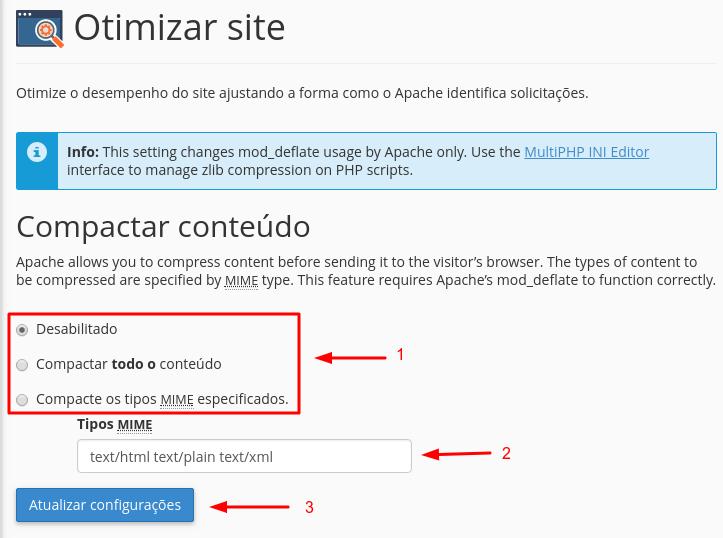 configurações de otimizar site
