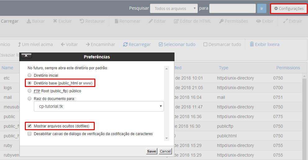 configurações no gerenciador de arquivos