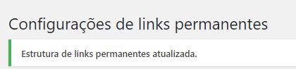 mensagem de confirmação de estrutura de links atualizada