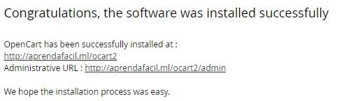 confirmação instalação opencart