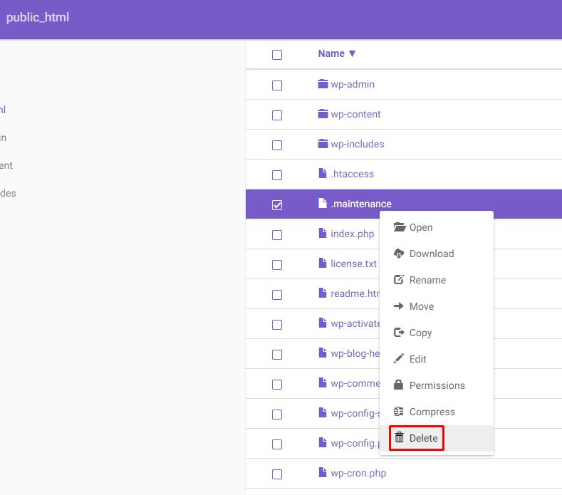 deletar pasta no gerenciador de arquivos hostinger
