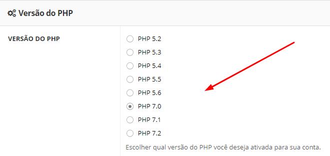 versão do php disponível no painel
