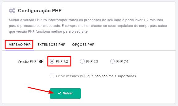 opções de escolher a versão do php
